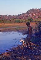 Tribal Aboriginal hunting for Barramundi Arnhem Land Northern Territory, Australia