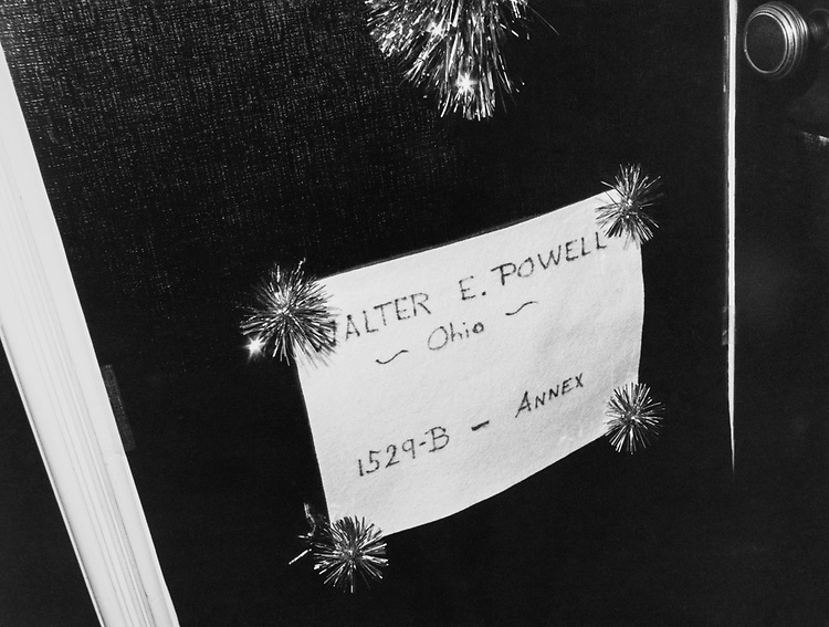 Decorated office door of Rep. Walter E. Powell, R-Ohio, around Christmas. (Photo by Dev O'Neill/CQ Roll Call via Getty Images)