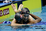 INDIANAPOLIS, IN - MARCH 18: Simone Manuel swimming for Stanford, left, is congratulated by Olivia Smoliga, swimming for Georgia  after the 100-meter freestyle during the Division I Women's Swimming & Diving Championships held at the Indiana University Natatorium on March 18, 2017 in Indianapolis, Indiana. (Photo by A.J. Mast/NCAA Photos via Getty Images)