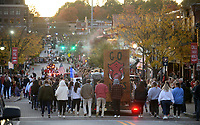 NWA Democrat-Gazette/ANDY SHUPE<br /> University of Arkansas students take part Friday, Nov. 1, 2019, in the university's annual homecoming parade on Dickson Street in Fayetteville. The Razorbacks football team hosts Mississippi State at 3 p.m. today. Visit nwadg.com/photos to see more photographs from the parade.