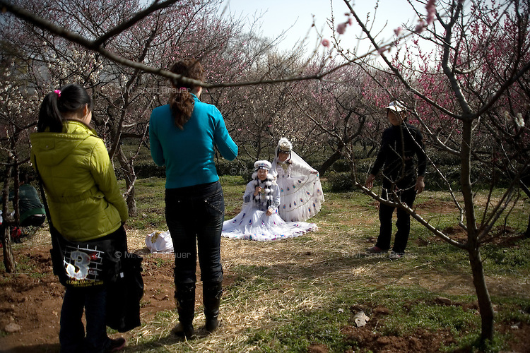 People walk and sit among trees on Plum Blossom Hill at the Purple-Gold Mountain in Nanjing, Jiangsu, China.