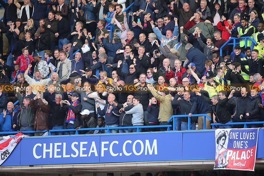 Palace fans celebrate at the final whistle during Chelsea vs Crystal Palace, Premier League Football at Stamford Bridge on 1st April 2017