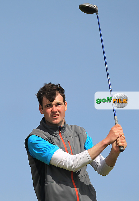 Jake Whelan (Newlands) on the 14th tee during Round 1 of the Flogas Irish Amateur Open Championship at Royal Dublin on Thursday 5th May 2016.<br /> Picture:  Thos Caffrey / www.golffile.ie