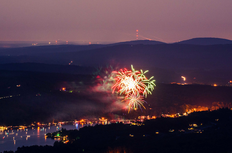 The fourth of July celebration in Alton, seen from the summit area of Mt. Major.
