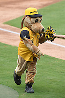 Jacksonville Suns mascot Southpaw entertains fans during the base race in between innings at a game against the Pensacola Blue Wahoos on April 20, 2014 at Bragan Field in Jacksonville, Florida.  Jacksonville defeated Pensacola 5-4.  (Mike Janes/Four Seam Images)
