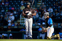 Jupiter Hammerheads Lazaro Alonso (44) and catcher Raul Hernandez (29) during a Florida State League game against the Bradenton Marauders on April 20, 2019 at LECOM Park in Bradenton, Florida.  Bradenton defeated Jupiter 3-2.  (Mike Janes/Four Seam Images)