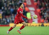 30th November 2019; Anfield, Liverpool, Merseyside, England; English Premier League Football, Liverpool versus Brighton and Hove Albion; Trent Alexander-Arnold of Liverpool controls the ball in a wide position - Strictly Editorial Use Only. No use with unauthorized audio, video, data, fixture lists, club/league logos or 'live' services. Online in-match use limited to 120 images, no video emulation. No use in betting, games or single club/league/player publications