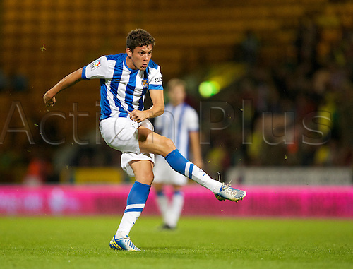 06.08.13 Norwich, England.  Gorka Elustondo of Sociedad goes for goal during the Pre Season Friendly between Norwich and Real Sociedad from Carrow Road.