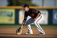 Modesto Nuts first baseman Evan White (18) during a California League game against the Lake Elsinore Storm at John Thurman Field on May 11, 2018 in Modesto, California. Modesto defeated Lake Elsinore 3-1. (Zachary Lucy/Four Seam Images)