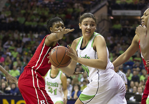 January 13, 2013:  Notre Dame forward Natalie Achonwa (11) passes the ball during NCAA Basketball game action between the Notre Dame Fighting Irish and the Rutgers Scarlett Knights at Purcell Pavilion at the Joyce Center in South Bend, Indiana.  Notre Dame defeated Rutgers 71-46.