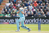 Liam Plunkett (England) drills the ball to long on during England vs Bangladesh, ICC World Cup Cricket at Sophia Gardens Cardiff on 8th June 2019