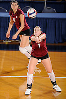 20 November 2008:  UALR outside hitter Amila Barakovic (1) returns the ball in play during the New Orleans 3-1 victory over UALR in the first round of the Sun Belt Conference Championship tournament at FIU Stadium in Miami, Florida.