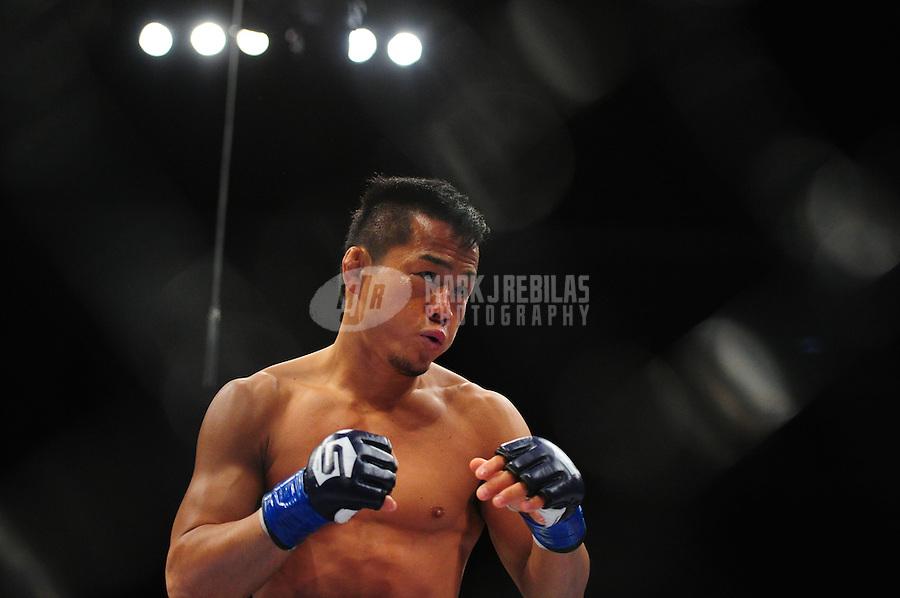 Apr. 9, 2011; San Diego, CA, USA; Strikeforce fighter Hiroyuki Takaya during an undercard bout at the Valley View Casino Center.  Mandatory Credit: Mark J. Rebilas-