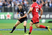 Rhys Priestland of Bath Rugby in possession. Heineken Champions Cup match, between Bath Rugby and Stade Toulousain on October 13, 2018 at the Recreation Ground in Bath, England. Photo by: Patrick Khachfe / Onside Images