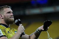 Hurricanes centurion Brad Shields thanks fans after the Super Rugby match between the Hurricanes and Blues at Westpac Stadium in Wellington, New Zealand on Saturday, 7 July 2018. Photo: Dave Lintott / lintottphoto.co.nz