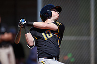 Iowa Hawkeyes second baseman Mitchell Boe (4) at bat during a game against the Dartmouth Big Green on February 27, 2016 at South Charlotte Regional Park in Punta Gorda, Florida.  Iowa defeated Dartmouth 4-1.  (Mike Janes/Four Seam Images)
