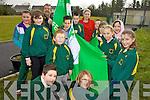 GREEN FLAG: Hoising their new Green Flag at Gaelscoil Lios Tuathail on Friday afternoon were front l-r: Gavin O? Conchu?ir, Nicole Ni? Mhuircheartaigh. Standing l-r: Lauren Ni? Goga?in, Megan Ni? Chionnaith, John McGrath (Chairman, Board of Management), Caoimhi?n O? Conchu?ir, Coamha?n O? Da?laigh, Deirdre Aghas (Principal), Bobby O? Lochlainn, Mickey O? Duinn, Siobha?n Ni? Caoimh Ceallaigh, Mychaela Ni? Liatha?in, Beibhinn Ni? Dhonnachu?.