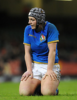 Italy&rsquo;s Lucia Gai in action during todays match<br /> <br /> Photographer Ian Cook/CameraSport<br /> <br /> 2018 Women's Six Nations Championships Round 4 - Wales Women v Italy Women - Sunday 11th March 2018 - Principality Stadium - Cardiff<br /> <br /> World Copyright &copy; 2018 CameraSport. All rights reserved. 43 Linden Ave. Countesthorpe. Leicester. England. LE8 5PG - Tel: +44 (0) 116 277 4147 - admin@camerasport.com - www.camerasport.com