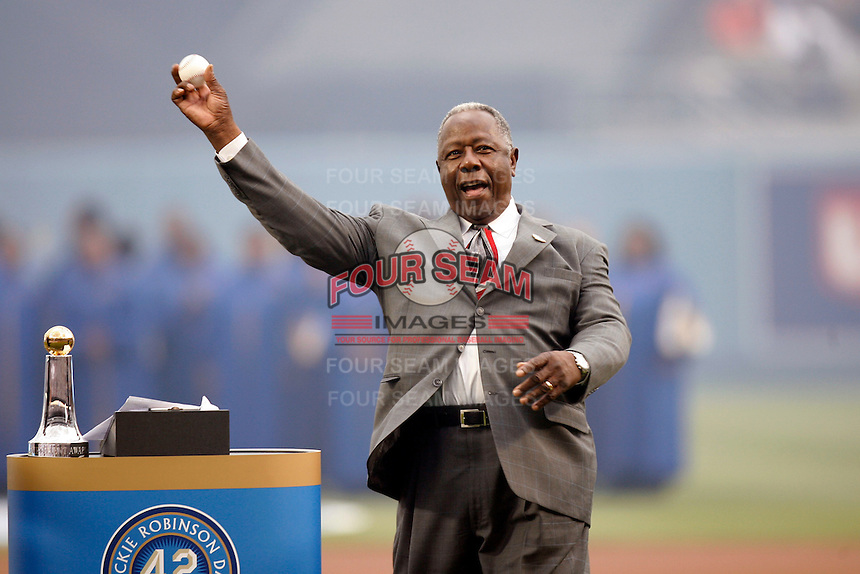 "Former Atlanta Brave Henry Aaron, who hit a record 755 home runs, throws out the first pitch after the announcement of ""Jackie Robinson Day"", which will be celebrated at every Major League Baseball game to be played on April 15 of every season, at Dodger Stadium on April 15, 2007 in Los Angeles, California. (Larry Goren/Four Seam Images)"