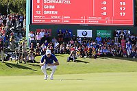 Lucas Bjerregaard (DEN) on the 18th green during Sunday's Final Round 4 of the 2018 Omega European Masters, held at the Golf Club Crans-Sur-Sierre, Crans Montana, Switzerland. 9th September 2018.<br /> Picture: Eoin Clarke | Golffile<br /> <br /> <br /> All photos usage must carry mandatory copyright credit (© Golffile | Eoin Clarke)