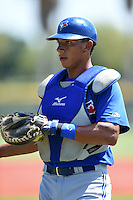 Toronto Blue Jays catcher Javier Hernandez (25) during practice before a minor league spring training game against the Pittsburgh Pirates on March 21, 2015 at Pirate City in Bradenton, Florida.  (Mike Janes/Four Seam Images)