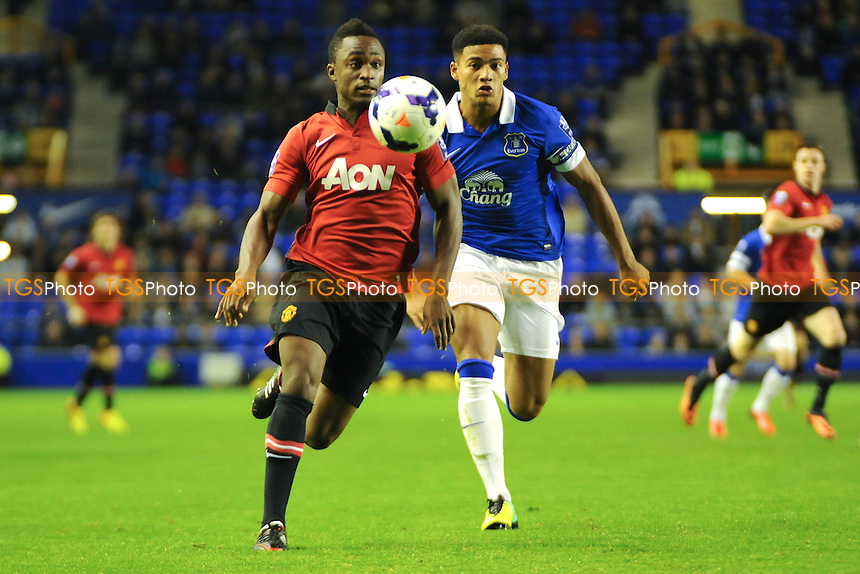 Charni Ekangamene of Manchester United vies for the ball with Tyias Browning of Everton - Everton Under-21 vs Manchester United Under-21 - Barclays Under-21 Premier League Football at Goodison Park, Liverpool - 21/10/13 - MANDATORY CREDIT: Greig Bertram/TGSPHOTO - Self billing applies where appropriate - 0845 094 6026 - contact@tgsphoto.co.uk - NO UNPAID USE