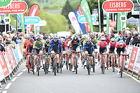 Picture by Allan McKenzie/SWpix.com - 15/05/2018 - Cycling - OVO Energy Tour Series Mens Race Round 2:Motherwell - The peloton comes through Motherwell, Eisberg, Adnams, branding.