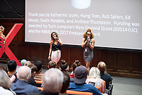 Emcees Alex Duncan '20 and Sophia Brown '20.<br /> Occidental College hosts TEDxOccidentalCollege on April 21, 2018 in Choi Auditorium of Johnson Hall. Students, faculty, alums and guest speakers delivered their TEDx Talk on the theme, Shifting Ecosystems of Power.<br /> (Photo by Marc Campos, Occidental College Photographer)