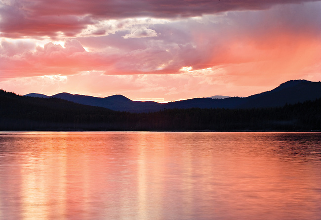 Intense Breaking Thunderstorm at Sunset Over Priest Lake, Idaho