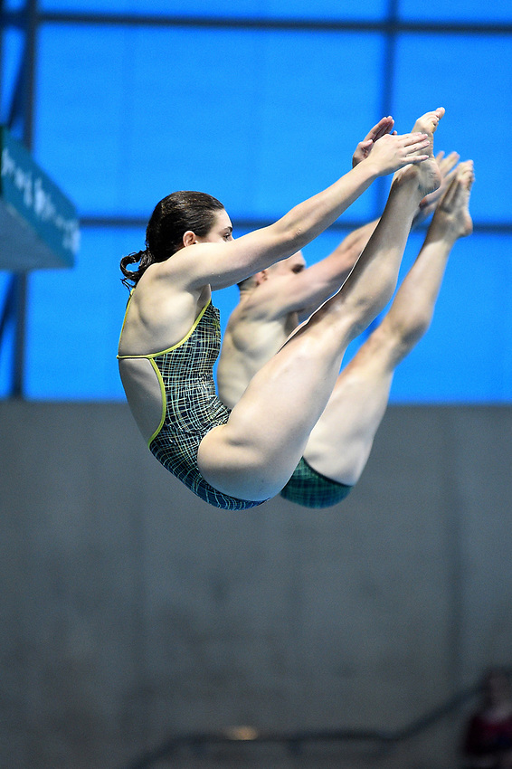 Australia's Domonic Bedggood and Maddison Keeney compete in the mixed 3m synchro springboard <br /> <br /> Photographer Hannah Fountain/CameraSport<br /> <br /> FINA/CNSG Diving World Series 2019 - Day 3 - Sunday 19th May 2019 - London Aquatics Centre - Queen Elizabeth Olympic Park - London<br /> <br /> World Copyright © 2019 CameraSport. All rights reserved. 43 Linden Ave. Countesthorpe. Leicester. England. LE8 5PG - Tel: +44 (0) 116 277 4147 - admin@camerasport.com - www.camerasport.com