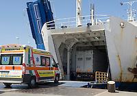 Italy, Calabria, Villa San Giovanni: port at Straits of Messina, embarking for Messina