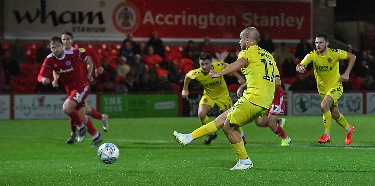 Fleetwood Town's Paddy Madden scores a consolation penalty<br /> <br /> Photographer Dave Howarth/CameraSport<br /> <br /> EFL Leasing.com Trophy - Northern Section - Group B - Tuesday 3rd September 2019 - Accrington Stanley v Fleetwood Town - Crown Ground - Accrington<br />  <br /> World Copyright © 2019 CameraSport. All rights reserved. 43 Linden Ave. Countesthorpe. Leicester. England. LE8 5PG - Tel: +44 (0) 116 277 4147 - admin@camerasport.com - www.camerasport.com