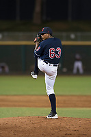 AZL Indians 2 relief pitcher Jerson Ramirez (63) delivers a pitch during an Arizona League game against the AZL Dodgers at Goodyear Ballpark on July 12, 2018 in Goodyear, Arizona. The AZL Indians 2 defeated the AZL Dodgers 2-1. (Zachary Lucy/Four Seam Images)