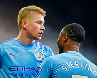 30th November 2019; St James Park, Newcastle, Tyne and Wear, England; English Premier League Football, Newcastle United versus Manchester City; Kevin de Bruyne of Manchester City is hugged by Raheem Sterling of Manchester City after he scores in the 82nd minute to make it 1-2  - Strictly Editorial Use Only. No use with unauthorized audio, video, data, fixture lists, club/league logos or 'live' services. Online in-match use limited to 120 images, no video emulation. No use in betting, games or single club/league/player publications