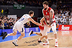 Real Madrid's Jaycee Carroll and EA7 Emporio Armani Milan's Miroslav Raduljica during Turkish Airlines Euroleage match between Real Madrid and EA7 Emporio Armani Milan at Wizink Center in Madrid, Spain. January 27, 2017. (ALTERPHOTOS/BorjaB.Hojas)