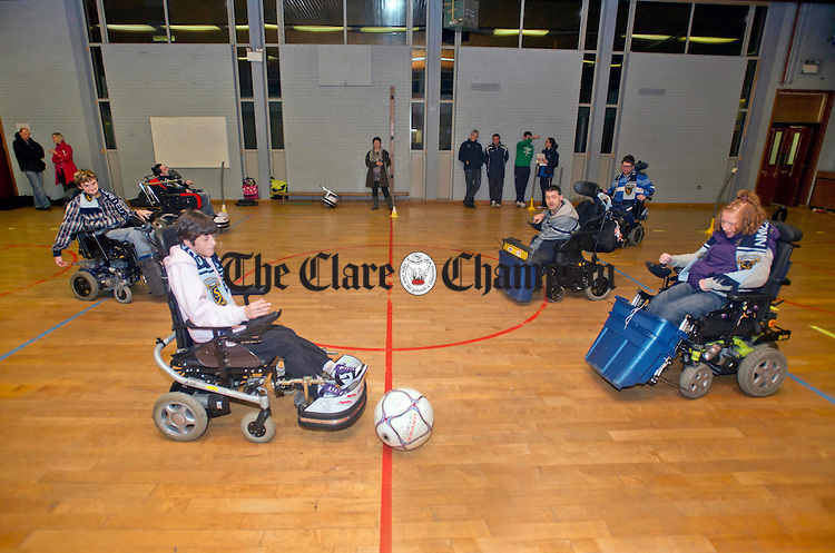 Members of Shannon Town United's powerchair football team in action during the team's official launch at St Patrick's Comprehensive School. Photograph by Declan Monaghan