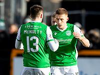 9th February 2020; Indodrill Stadium Alloa, Alloa Clackmannashire, Scotland; Scottish Cup Football, BSC Glasgow versus Hibernian; Marc McNulty of Hibernian celebrates  Hibernian second goal for 0-2 in the 30th minute
