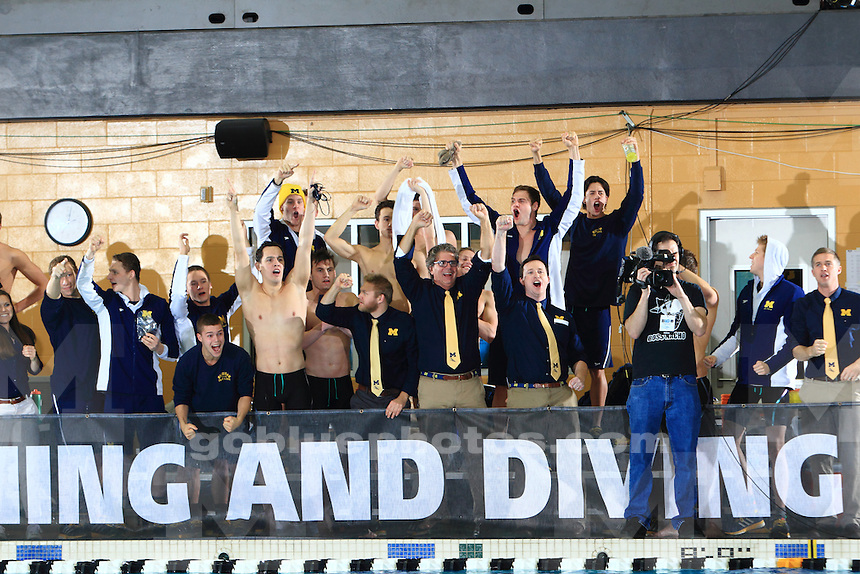 The University of Michigan men's swimming and diving team compete on the final day of the 2016 Big Ten Men's Swimming and Diving Championships. Hosted at Purdue University, West Lafayette, IN. February 27, 2016
