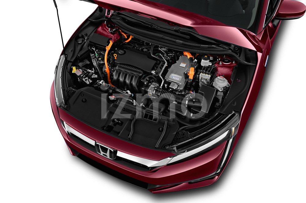 Car stock 2018 Honda Clarity Plug-In Hybrid 4 Door Sedan engine high angle detail view