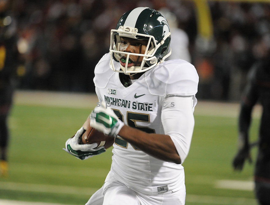 Michigan State Spartans Keith Mumphery (25) during a game against the Maryland Terrapins on November 15, 2014 at Byrd Stadium in College Park, MD. Michigan State beat Maryland 37-15.