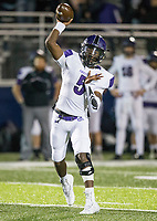 NWA Democrat-Gazette/BEN GOFF @NWABENGOFF<br /> Darius Bowers, Fayetteville quarterback, throws the ball in the first quarter vs Springdale Har-Ber Friday, Nov. 2, 2018, during the game at Wildcat Stadium in Springdale.