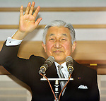 December 23, 2013, Tokyo, Japan - Japan's Emperor Akihito waves to flag-waving well-wishers celebrating his 80th birthday during a genreral audiencre at the Imperial Palace in Tokyo on Monday, December 23, 2013. Akihito told the crowd of some 25,000 people that he prayed the coming year will be a good year for all. (Photo by Natsuki Sakai/AFLO)