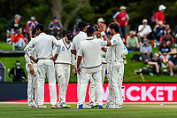 Black Caps celebrates the wicket of Mark Wood of England  during Day 4 of the Second International Cricket Test match, New Zealand V England, Hagley Oval, Christchurch, New Zealand, 2nd April 2018.Copyright photo: John Davidson / www.photosport.nz