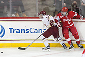 Austin Cangelosi (BC - 9), Kieffer Bellows (BU - 9) - The visiting Boston University Terriers defeated the Boston College Eagles 3-0 on Monday, January 16, 2017, at Kelley Rink in Conte Forum in Chestnut Hill, Massachusetts.