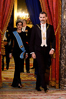 Queen Letizia and King Felipe VI of Spain during the gala dinner given to the President of the Argentine Republic,at Real Palace in Madrid, Spain. February 19, 2017. (ALTERPHOTOS/BorjaB.Hojas/Insidefoto)