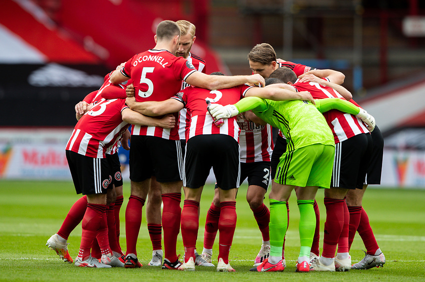 The Sheffield United team huddle together<br /> <br /> Photographer Alex Dodd/CameraSport<br /> <br /> The Premier League - Sheffield United v Chelsea - Saturday 11th July 2020 - Bramall Lane - Sheffield<br /> <br /> World Copyright © 2020 CameraSport. All rights reserved. 43 Linden Ave. Countesthorpe. Leicester. England. LE8 5PG - Tel: +44 (0) 116 277 4147 - admin@camerasport.com - www.camerasport.com