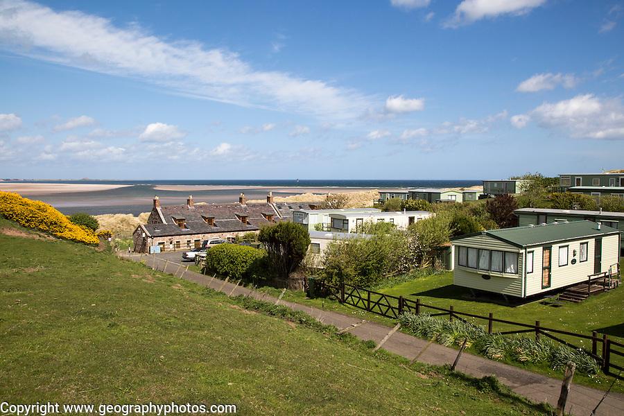 Tourist accommodation at Budle Bay, Northumberland coast, England, UK