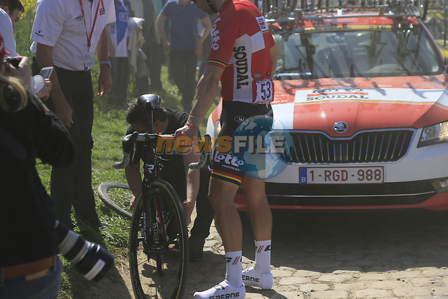 Jens Debusschere (BEL) Lotto-Soudal suffers a puncture on pave sector 29  Troisvilles a Inchy during the 115th edition of the Paris-Roubaix 2017 race running 257km Compiegne to Roubaix, France. 9th April 2017.<br /> Picture: Eoin Clarke | Cyclefile<br /> <br /> <br /> All photos usage must carry mandatory copyright credit (&copy; Cyclefile | Eoin Clarke)