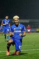 GOAL - Lyle Taylor of AFC Wimbledon is the first goal scorer during the Sky Bet League 1 match between AFC Wimbledon and Charlton Athletic at the Cherry Red Records Stadium, Kingston, England on 10 April 2018. Photo by Carlton Myrie / PRiME Media Images.