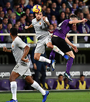 Lorenzo Pellegrini of AS Roma and Nikola Milenkovic of Fiorentina compete for the ball  during the Serie A 2018/2019 football match between ACF Fiorentina and AS Roma at stadio Artemio Franchi, Firenze, November 03, 2018 <br />  Foto Andrea Staccioli / Insidefoto